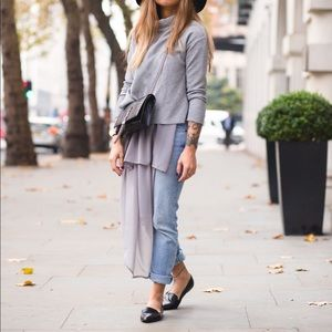 NWT Zara Gray Combined Asymmetric Sweatshirt